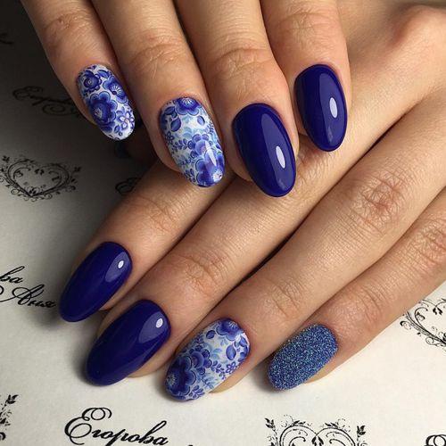 Гель-лак дизайн ногтей синий