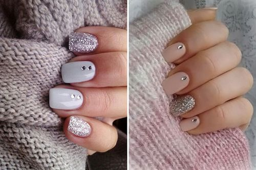 Зимний маникюр гель лаком на короткие ногти